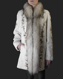 Sheared Bleached Sectional Mink with Russian Raccoon Tuxedo T rim B/L 32""