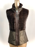 Mahagany Mink Knitted Vest With Nylon Zipper Clouser
