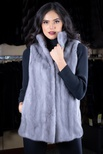 Long Hair Blue Iris Mink Vest Reversible to Taffeta with Stand-up Collar