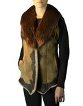 Shearling Vest with Natural Beaver