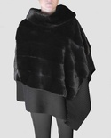 Natural Ranch Mink Poncho with Shoulder - to - Collar Zipper B/L 29""