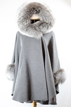 Grey Woven Cape with Silver Fox Trim On Hood and Cuffs