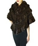 Natural Mahogany Mink Knitted Shawl B/L 17""