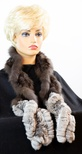 Knitted Sable and Chinchilla Ruffle Scarf with Elastic