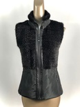 Black Mink Knitted Vest with Nylon zipper Clouser