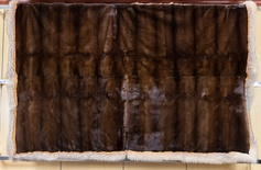 Natural Mahogany Mink Blanket with Crystal Fox Trim