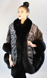 Swakara Grey Cape Trimmed in Black Fox