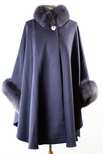 Woven Cashmere Cape with Fox Collar and Cuff