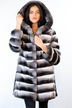 Natural Chinchilla with  Hood Trimmed with Mink