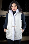 Long Hair Mink Vest Reversible to Taffeta with Stand-up Collar