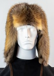 Cross Fox Full Skin Musher Hat with Tail and Sheared Beaver Interior Flaps