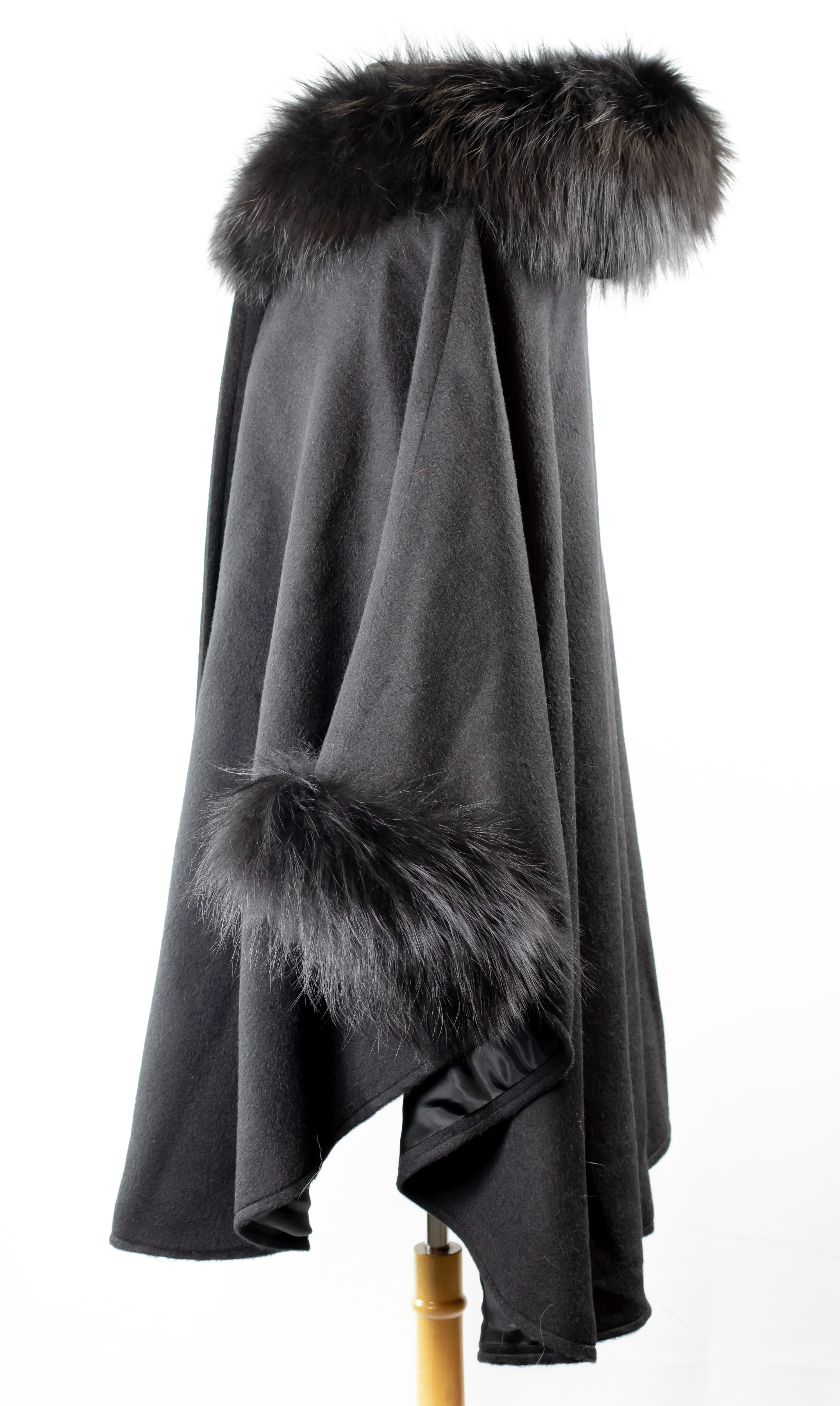Black Woven Cape with Black Fox Trim on Hood and Cuffs