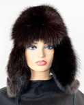 Sapphire Mink Sectional Musher Hat with Black Fox Front and Flaps
