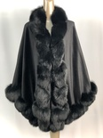 100% Black Cashmere Cape with Black  Fox Twirl Trim