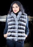 Natural Chinchilla Vest with Stand-Up Collar