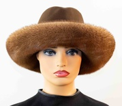 Mahogany Mink Trimmed Cowboy Felt Hat with Leather Wrap