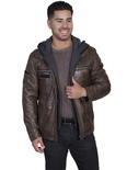 LEATHER JACKET WITH ZIP OUT FRONT AND HOOD INSERT