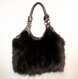 "Dyed Black Fox Purse with Leather Trim and Handles 13.5"" Wide X 10.5"" Tall with 10"" Handles"