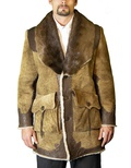 Shearling and Cow Hide Trimmed Coat with River Otter Collar B/L 34""